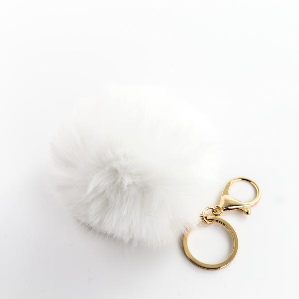 Pom Pom Schlüsselanhänger, Ø 9cm, Farbe: weiß, VE 1/12/600